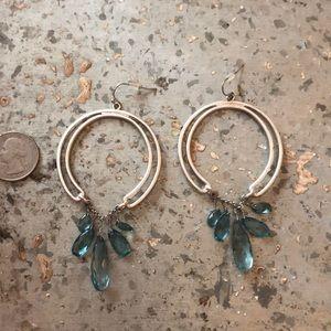 Jessica Simpson Silver & Aqua Dangle Earrings